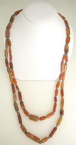 Carnelian and Brown Quartz Beads