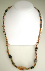 Carnelian, Agate, And Peridot Bead Necklace