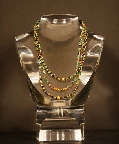 Ancient Glass Beaded Necklace, with Gold Beads.