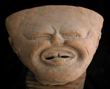 Remojadas Sculptural Fragment of a Smiling Head