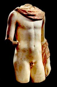 Greek Marble Polychrome Sculpture of a Heroic Male Youth