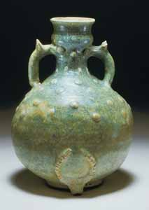 Parthian Green-Glazed Terracotta Vase