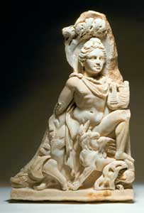 Fragment of a Roman Marble Sarcophagus Depicting Apollo