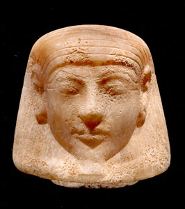 New Kingdom Alabaster Lid from a Canopic Jar Depicting Imsety