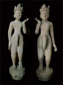 Pair of Mandalay Wooden Men Carrying a Palanquin