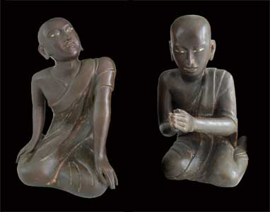 Pair of Mandalay Bronze Seated Disciples