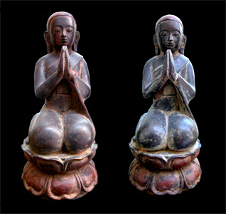 Pair of Shan Bronze Sculptures of Seated Disciples