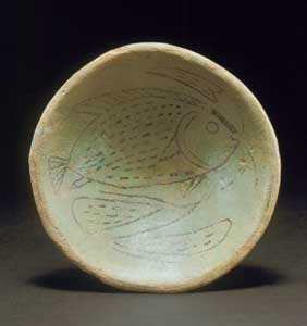 18th Dynasty Faience Bowl Decorated with a Fish