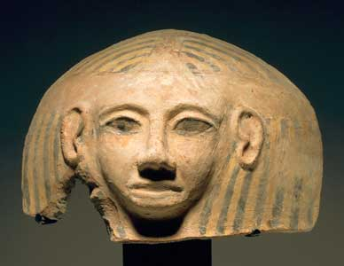 Egypto-Philistine Terracotta Anthropomorphic Coffin Lid