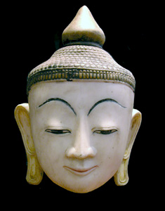 Shan Lacquered Marble Head of Buddha