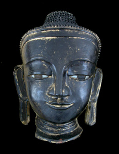 Shan Gilt and Lacquered Wooden Head of Buddha